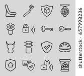 protect icons set. set of 16... | Shutterstock .eps vector #657998236