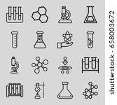 scientific icons set. set of 16 ... | Shutterstock .eps vector #658003672