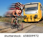 terrified cyclist is rushing... | Shutterstock . vector #658009972