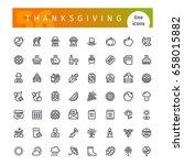 set of 56 thanksgiving line... | Shutterstock .eps vector #658015882