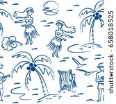 seamless pattern with summer... | Shutterstock .eps vector #658018525
