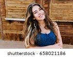 good looking joyful girl with... | Shutterstock . vector #658021186