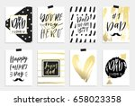 8 happy father's day postcards...   Shutterstock .eps vector #658023358
