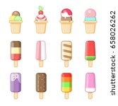 ice cream in a cone and on a... | Shutterstock .eps vector #658026262