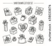 gift box set in hand drawn... | Shutterstock .eps vector #658033876