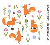 cute hand drawn vector foxes...   Shutterstock .eps vector #658033906