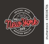 new york city logo t shirt... | Shutterstock .eps vector #658038706