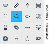 vector illustration of 16 food... | Shutterstock .eps vector #658039936