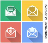 mail vector icon with long... | Shutterstock .eps vector #658040392