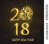 vector 2018 happy new year... | Shutterstock .eps vector #658042456