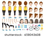 fitness woman character... | Shutterstock .eps vector #658043608
