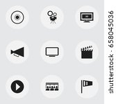 set of 9 editable filming icons.... | Shutterstock .eps vector #658045036