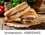 toasted panini with ham  cheese ... | Shutterstock . vector #658052452