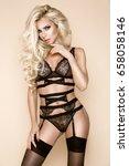elegant female model in black...   Shutterstock . vector #658058146