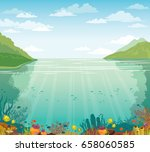 green island  blue sea and... | Shutterstock .eps vector #658060585