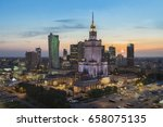 sunset over warsaw downtown... | Shutterstock . vector #658075135