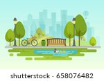 city park urban outdoor decor ... | Shutterstock .eps vector #658076482