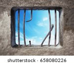 prison cell with broken prison... | Shutterstock . vector #658080226