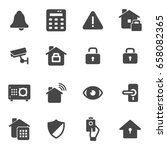 vector black home security...