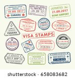 isolated set of visa passport... | Shutterstock .eps vector #658083682