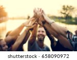 group of friends party hands... | Shutterstock . vector #658090972