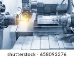 the cnc lathe machine or... | Shutterstock . vector #658093276