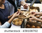people hands eating testing... | Shutterstock . vector #658108702