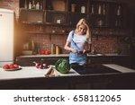 beautiful young blonde woman... | Shutterstock . vector #658112065
