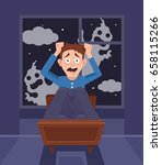 frightened scary screaming man... | Shutterstock .eps vector #658115266