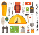 set of equipment for travel ... | Shutterstock .eps vector #658115662