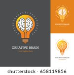 bright logo with linear brain... | Shutterstock .eps vector #658119856