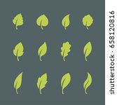leaf icons set isolated on dark ...