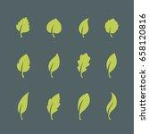 leaf icons set isolated on dark ...