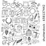 hipster doodle line vector set   Shutterstock .eps vector #658137442