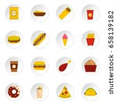 fast food cons set in flat... | Shutterstock .eps vector #658139182