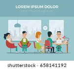 flat hr manager meeting with... | Shutterstock .eps vector #658141192