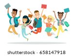 flat smiley students jumping... | Shutterstock .eps vector #658147918