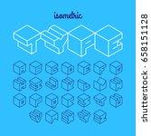 isometric 3d outline font ... | Shutterstock .eps vector #658151128
