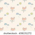 seamless pattern with sun ... | Shutterstock .eps vector #658151272