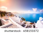 oia town on santorini island ... | Shutterstock . vector #658153372
