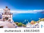 oia town on santorini island ... | Shutterstock . vector #658153405