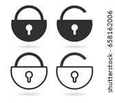 vector lock outline icon and...