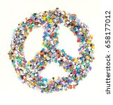 Small photo of Confetti alphabet: sign peace- figure on white isolated background
