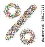 Small photo of Confetti alphabet: sign percent - figure on isolated background
