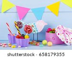 colorful lollipops  candy canes ... | Shutterstock . vector #658179355