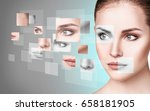 woman's face collected from... | Shutterstock . vector #658181905