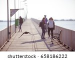 a crow flies by a dock at a... | Shutterstock . vector #658186222