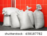 bags of solid fuel against red... | Shutterstock . vector #658187782