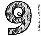 openwork numerals  number nine | Shutterstock .eps vector #65819710