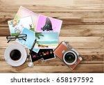 top view work desk with black... | Shutterstock .eps vector #658197592